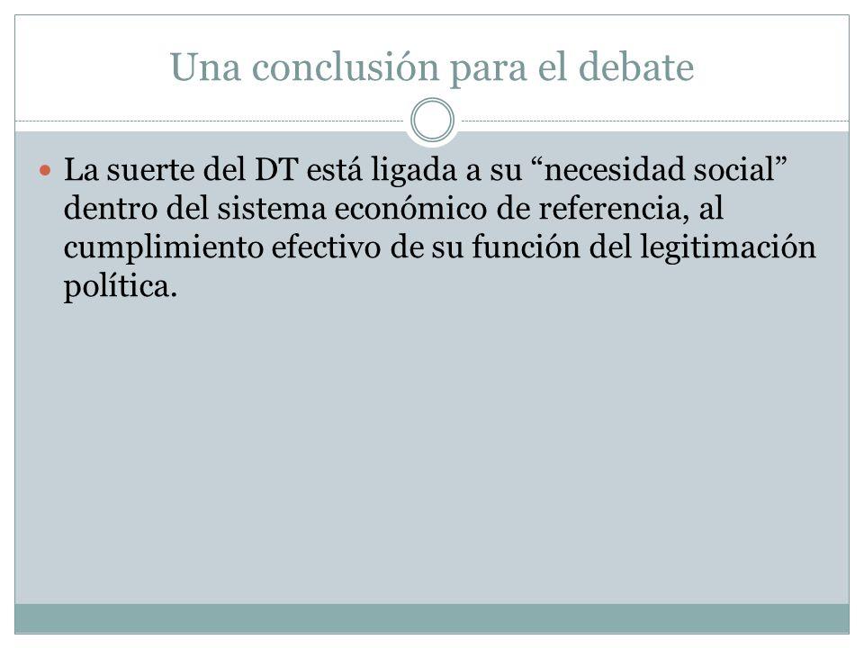 Una conclusión para el debate La suerte del DT está ligada a su necesidad social dentro del sistema económico de referencia, al cumplimiento efectivo