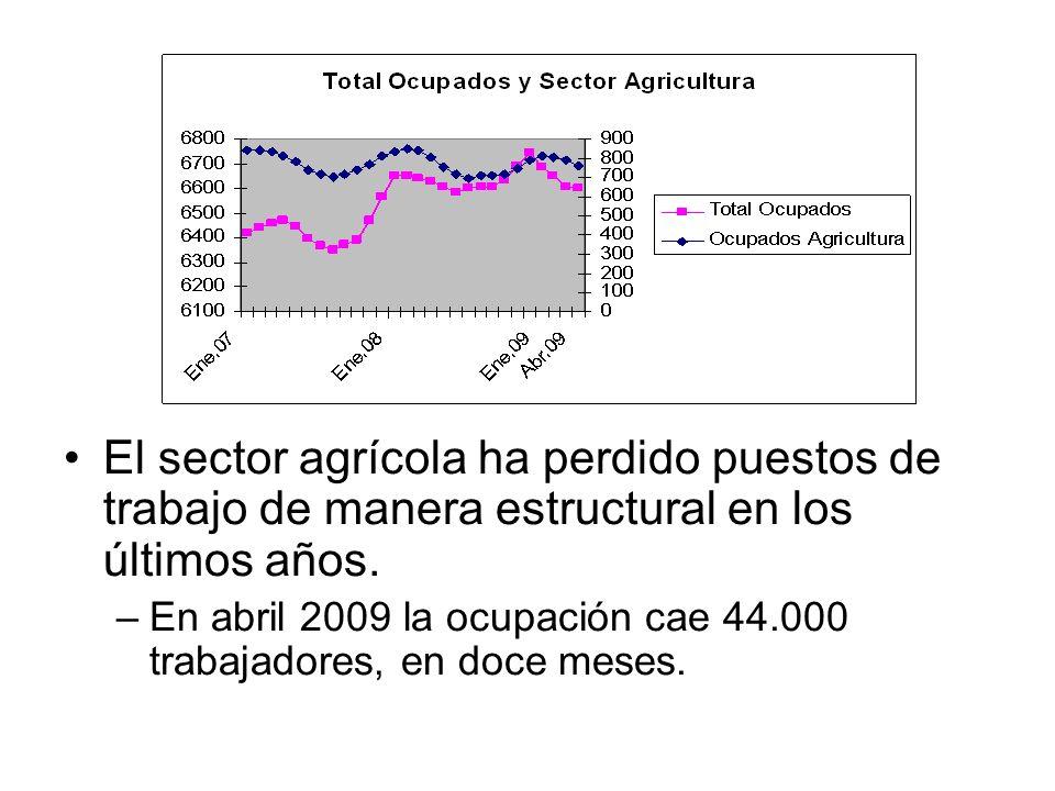 El sector agrícola ha perdido puestos de trabajo de manera estructural en los últimos años. –En abril 2009 la ocupación cae 44.000 trabajadores, en do