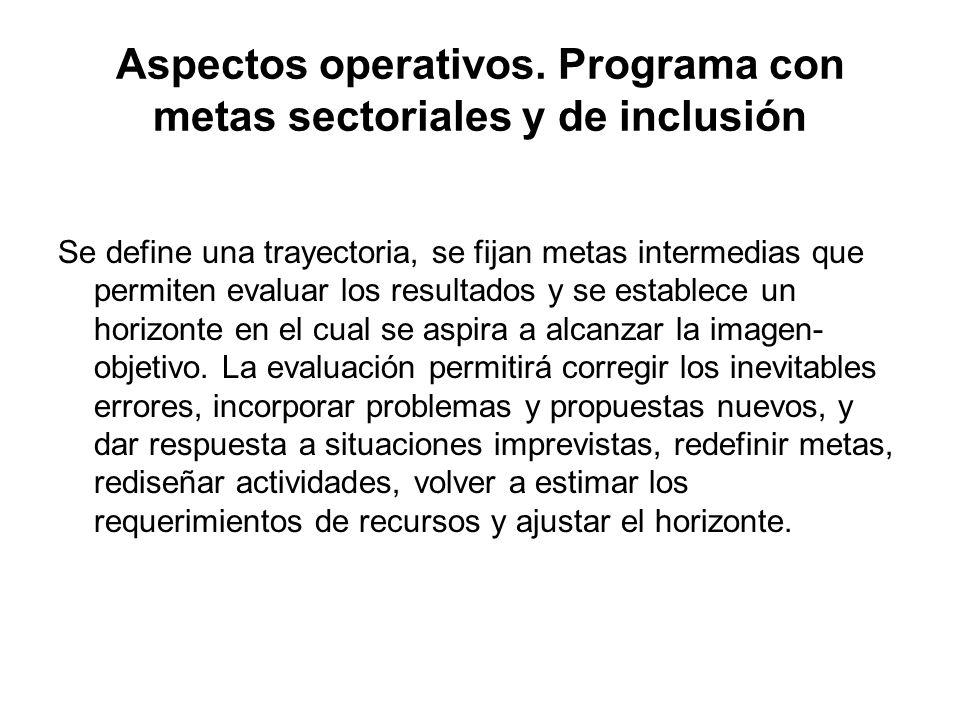 Aspectos operativos. Programa con metas sectoriales y de inclusión Se define una trayectoria, se fijan metas intermedias que permiten evaluar los resu
