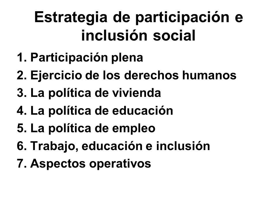 Estrategia de participación e inclusión social 1. Participación plena 2. Ejercicio de los derechos humanos 3. La política de vivienda 4. La política d