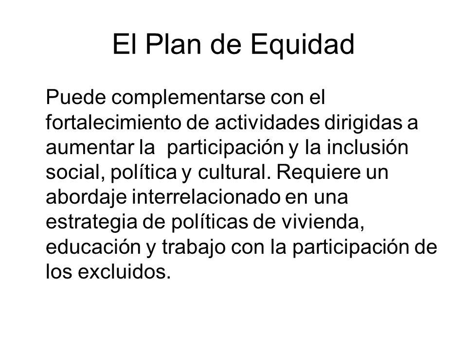 El Plan de Equidad Puede complementarse con el fortalecimiento de actividades dirigidas a aumentar la participación y la inclusión social, política y