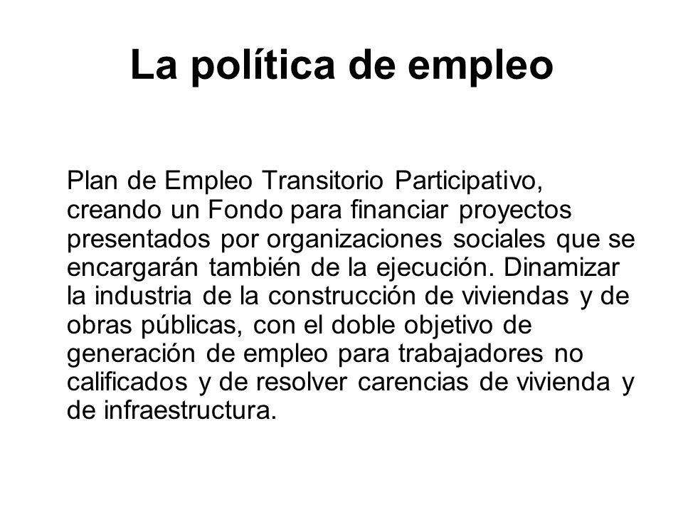 La política de empleo Plan de Empleo Transitorio Participativo, creando un Fondo para financiar proyectos presentados por organizaciones sociales que