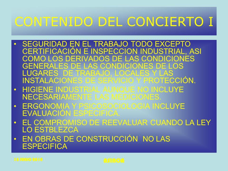 18 JUNIO 2010 ASINCA CONTENIDO DEL CONCIERTO I SEGURIDAD EN EL TRABAJO TODO EXCEPTO CERTIFICACIÓN E INSPECCION INDUSTRIAL, ASI COMO LOS DERIVADOS DE L