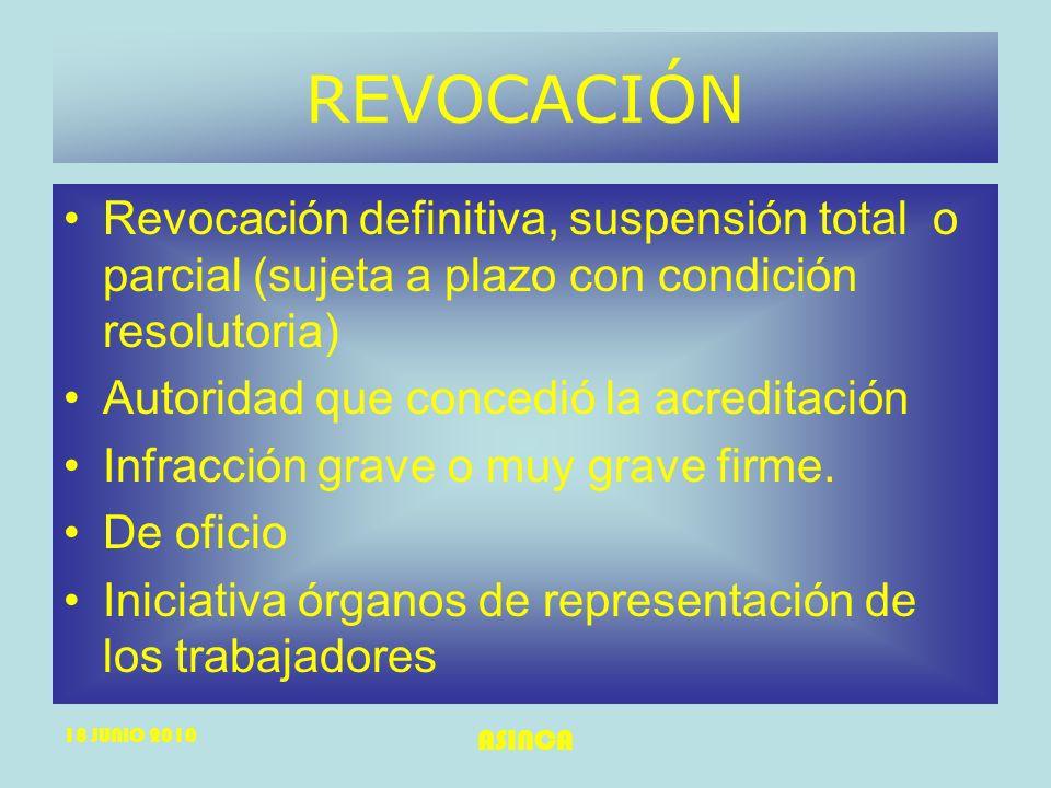 18 JUNIO 2010 ASINCA REVOCACIÓN Revocación definitiva, suspensión total o parcial (sujeta a plazo con condición resolutoria) Autoridad que concedió la