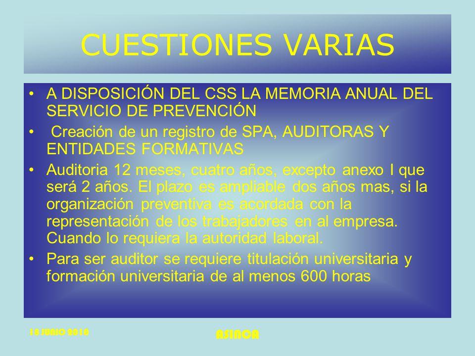 18 JUNIO 2010 ASINCA CUESTIONES VARIAS A DISPOSICIÓN DEL CSS LA MEMORIA ANUAL DEL SERVICIO DE PREVENCIÓN Creación de un registro de SPA, AUDITORAS Y E