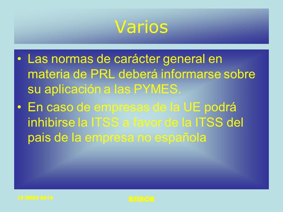 18 JUNIO 2010 ASINCA Varios Las normas de carácter general en materia de PRL deberá informarse sobre su aplicación a las PYMES. En caso de empresas de