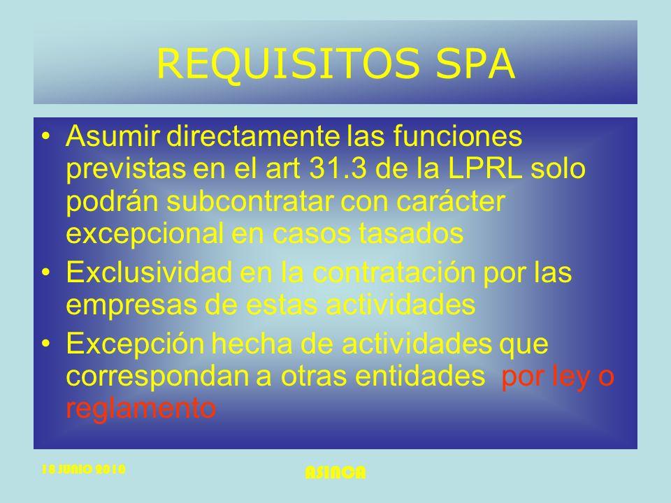 18 JUNIO 2010 ASINCA REQUISITOS SPA Asumir directamente las funciones previstas en el art 31.3 de la LPRL solo podrán subcontratar con carácter excepc