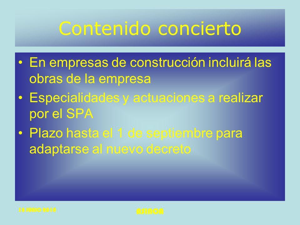18 JUNIO 2010 ASINCA Contenido concierto En empresas de construcción incluirá las obras de la empresa Especialidades y actuaciones a realizar por el S