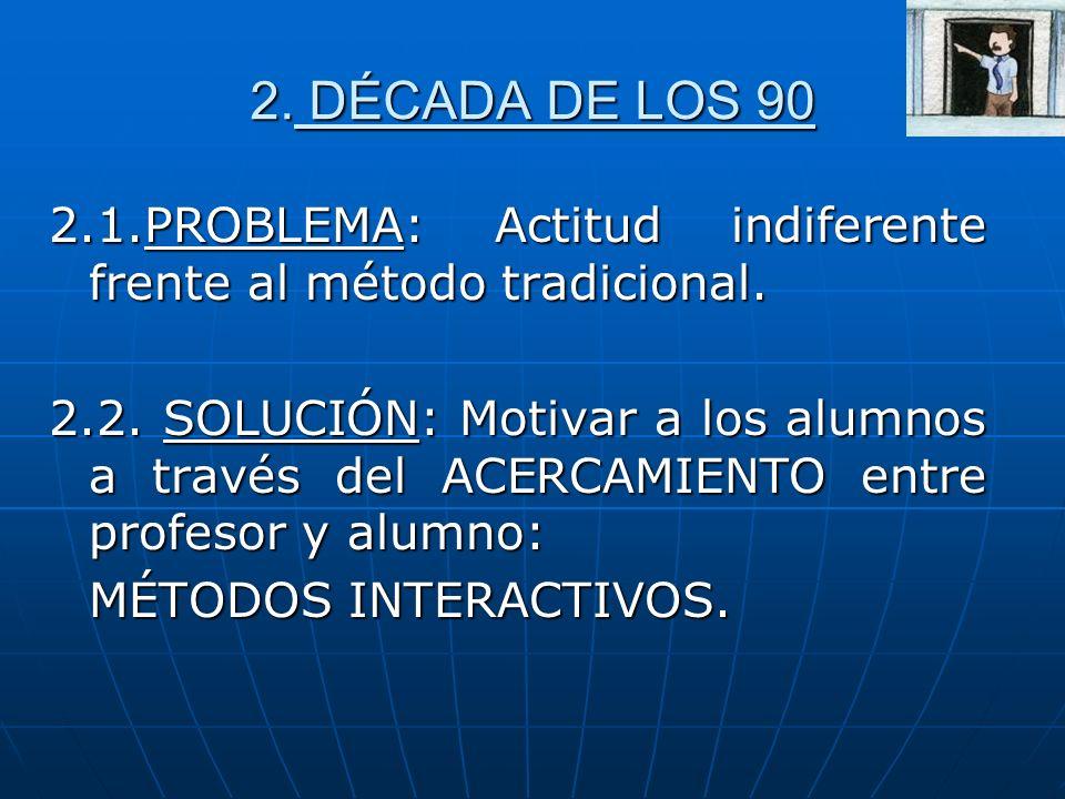 2. DÉCADA DE LOS 90 2.1.PROBLEMA: Actitud indiferente frente al método tradicional. 2.2. SOLUCIÓN: Motivar a los alumnos a través del ACERCAMIENTO ent