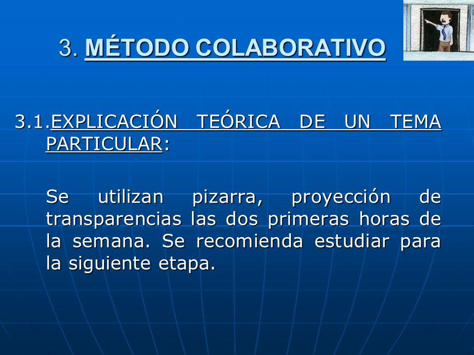 3. MÉTODO COLABORATIVO 3.1.EXPLICACIÓN TEÓRICA DE UN TEMA PARTICULAR: Se utilizan pizarra, proyección de transparencias las dos primeras horas de la s