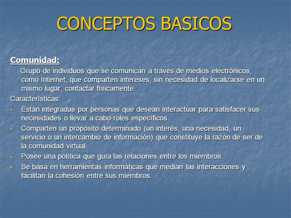 CONCEPTOS BASICOS Comunidad: Grupo de individuos que se comunican a través de medios electrónicos, como Internet, que comparten intereses, sin necesidad de localizarse en un mismo lugar, contactar físicamente.