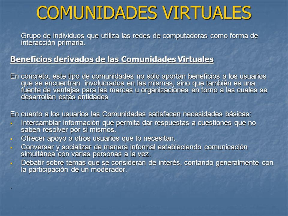 COMUNIDADES VIRTUALES Grupo de individuos que utiliza las redes de computadoras como forma de interacción primaria.