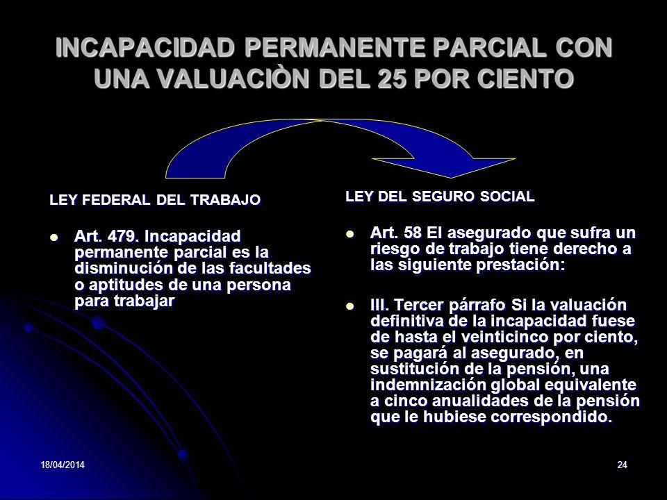 18/04/201424 INCAPACIDAD PERMANENTE PARCIAL CON UNA VALUACIÒN DEL 25 POR CIENTO LEY FEDERAL DEL TRABAJO Art. 479. Incapacidad permanente parcial es la