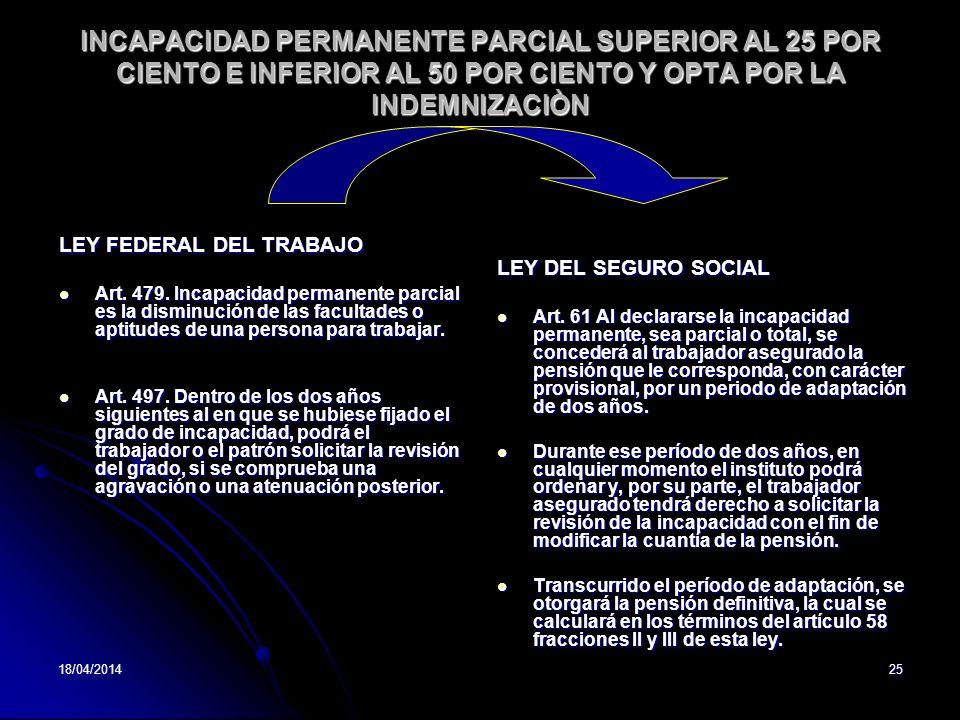 18/04/201425 INCAPACIDAD PERMANENTE PARCIAL SUPERIOR AL 25 POR CIENTO E INFERIOR AL 50 POR CIENTO Y OPTA POR LA INDEMNIZACIÒN LEY FEDERAL DEL TRABAJO Art.