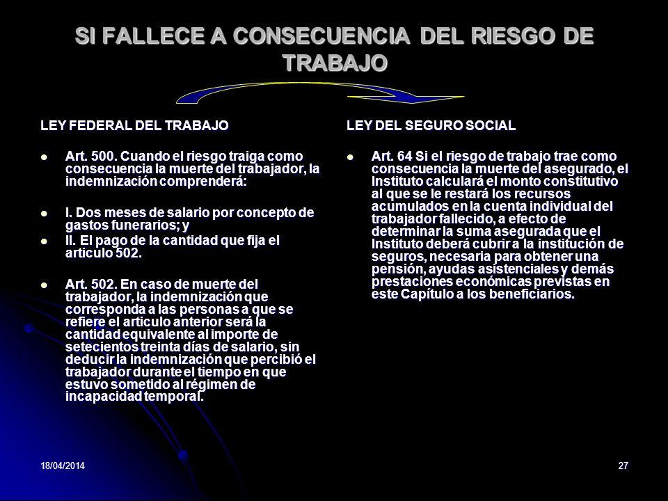 18/04/201427 SI FALLECE A CONSECUENCIA DEL RIESGO DE TRABAJO LEY FEDERAL DEL TRABAJO Art. 500. Cuando el riesgo traiga como consecuencia la muerte del