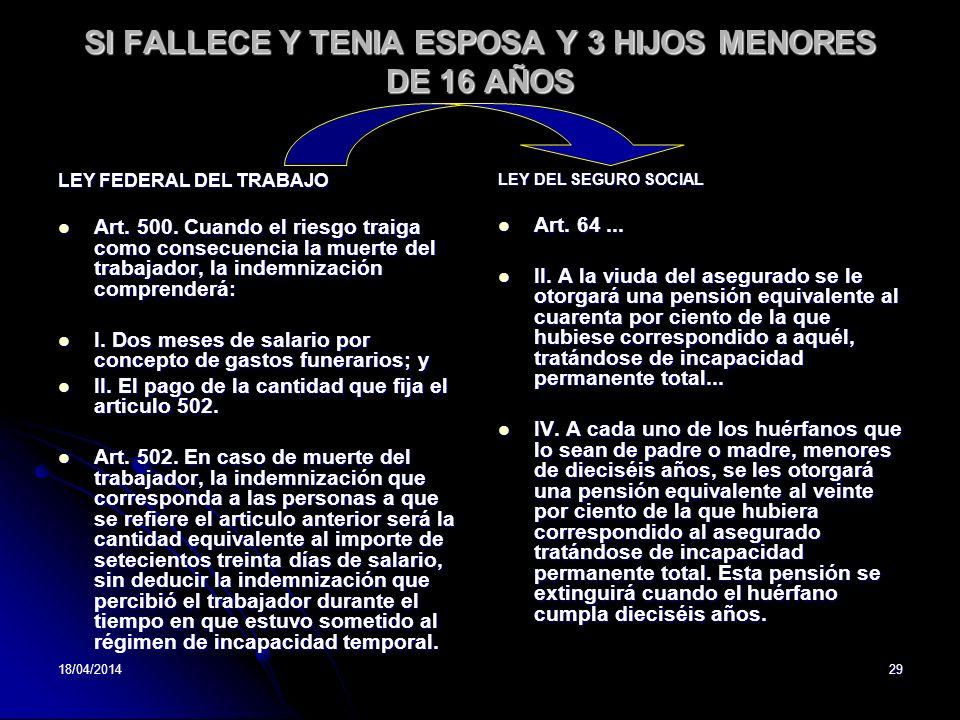 18/04/201429 SI FALLECE Y TENIA ESPOSA Y 3 HIJOS MENORES DE 16 AÑOS LEY FEDERAL DEL TRABAJO Art. 500. Cuando el riesgo traiga como consecuencia la mue