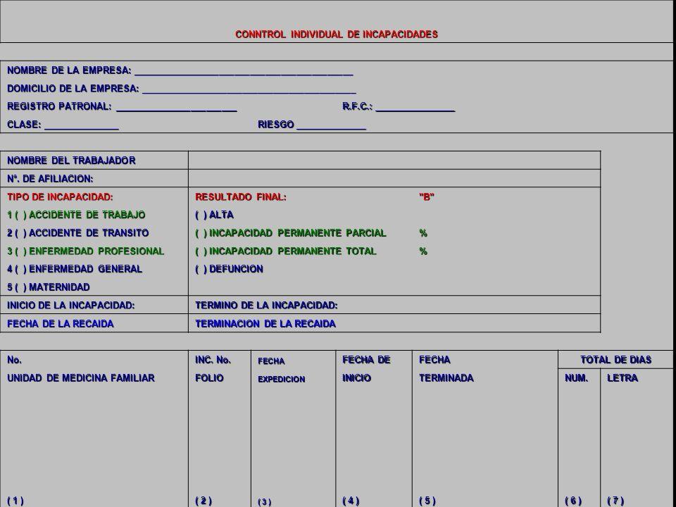 18/04/201442 CONNTROL INDIVIDUAL DE INCAPACIDADES NOMBRE DE LA EMPRESA: ___________________________________________ DOMICILIO DE LA EMPRESA: _________