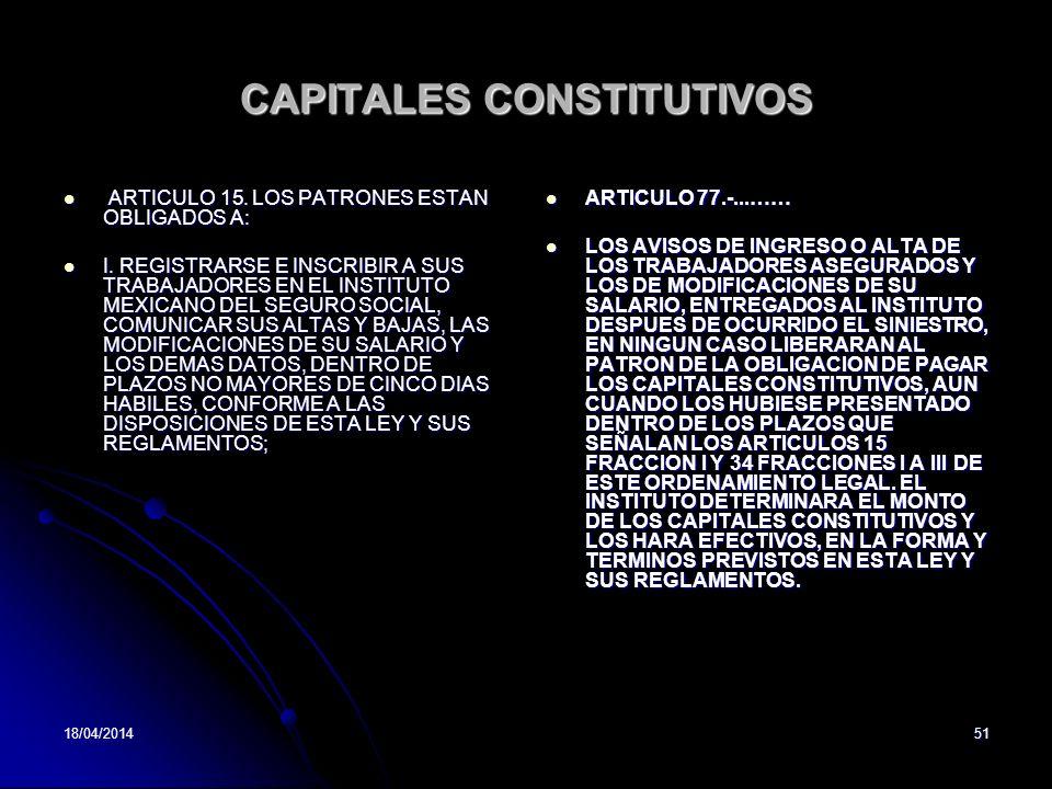 18/04/201451 CAPITALES CONSTITUTIVOS ARTICULO 15. LOS PATRONES ESTAN OBLIGADOS A: ARTICULO 15. LOS PATRONES ESTAN OBLIGADOS A: I. REGISTRARSE E INSCRI