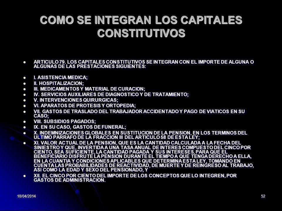 18/04/201452 COMO SE INTEGRAN LOS CAPITALES CONSTITUTIVOS ARTICULO 79. LOS CAPITALES CONSTITUTIVOS SE INTEGRAN CON EL IMPORTE DE ALGUNA O ALGUNAS DE L
