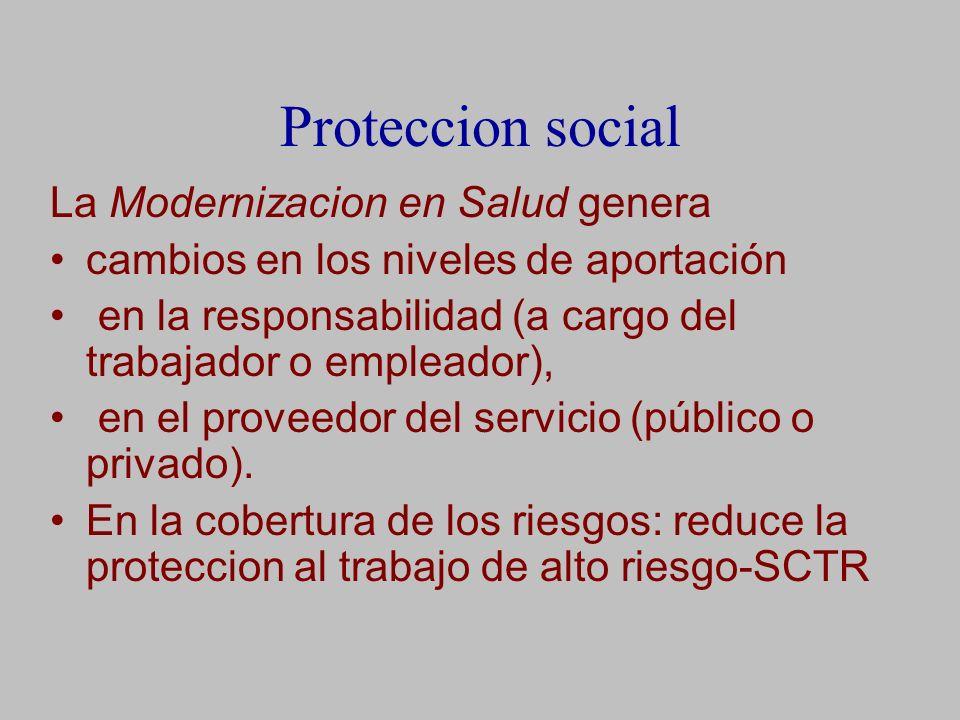 Proteccion social La Modernizacion en Salud genera cambios en los niveles de aportación en la responsabilidad (a cargo del trabajador o empleador), en el proveedor del servicio (público o privado).