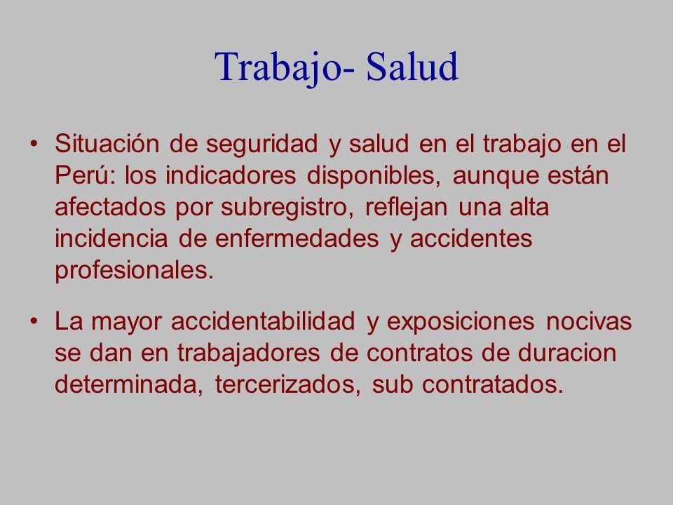 Trabajo- Salud Situación de seguridad y salud en el trabajo en el Perú: los indicadores disponibles, aunque están afectados por subregistro, reflejan una alta incidencia de enfermedades y accidentes profesionales.