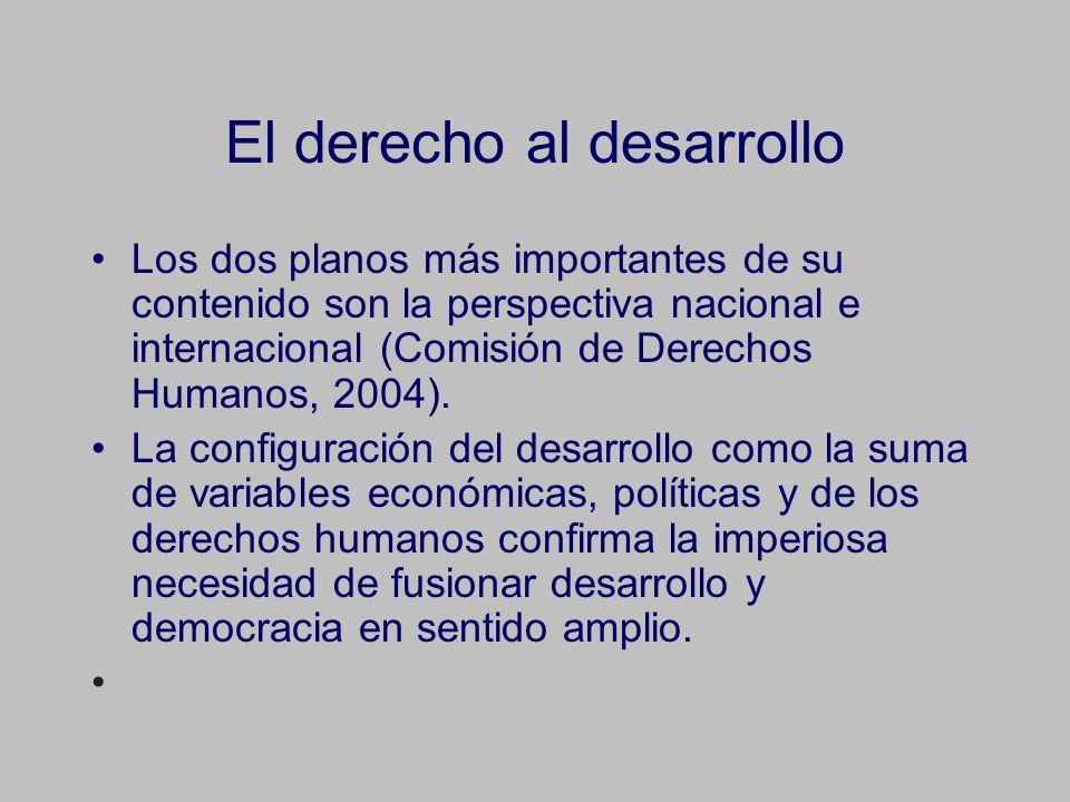 El derecho al desarrollo Los dos planos más importantes de su contenido son la perspectiva nacional e internacional (Comisión de Derechos Humanos, 2004).