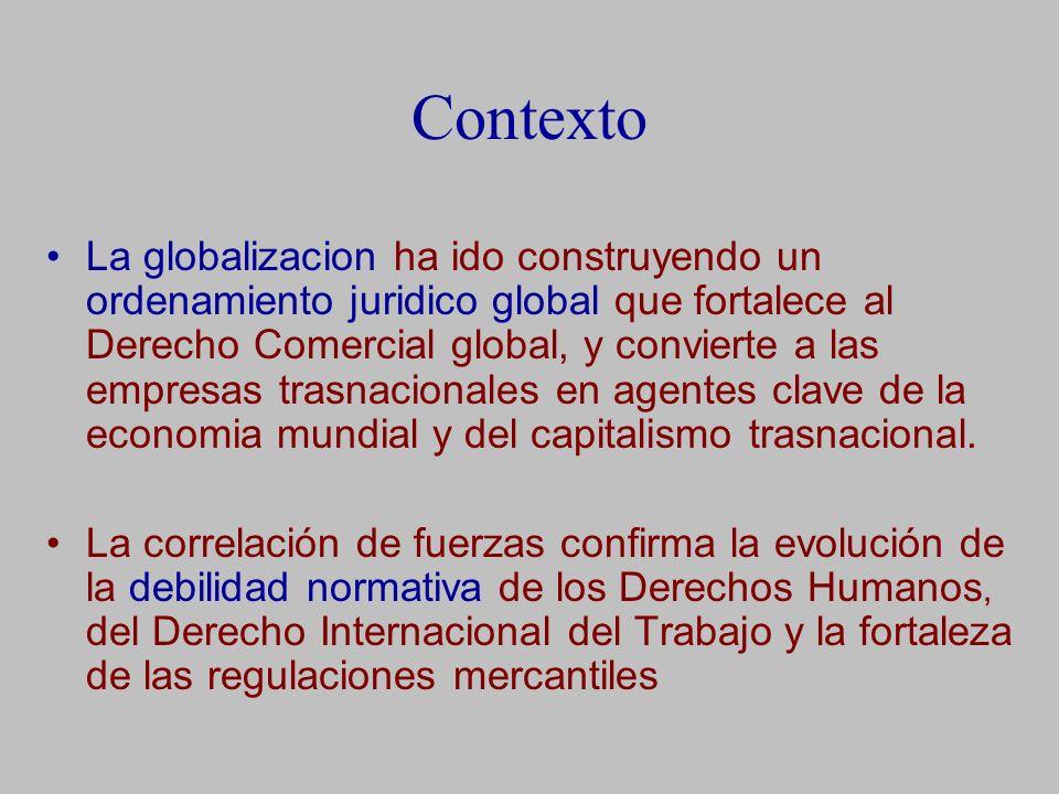 Contexto La globalizacion ha ido construyendo un ordenamiento juridico global que fortalece al Derecho Comercial global, y convierte a las empresas trasnacionales en agentes clave de la economia mundial y del capitalismo trasnacional.