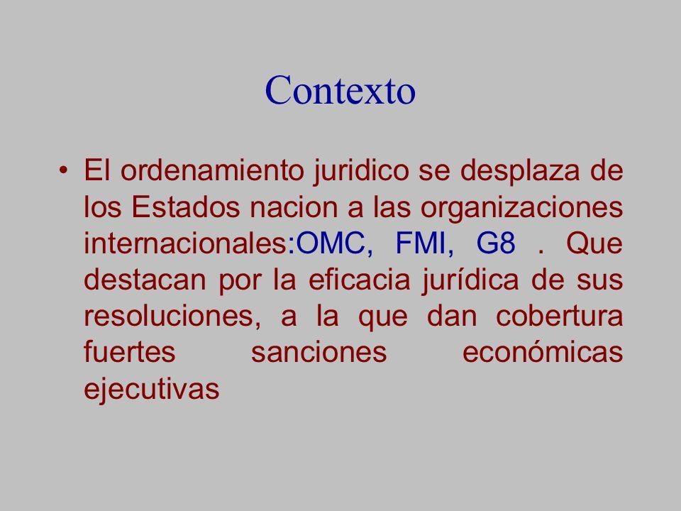 Contexto El ordenamiento juridico se desplaza de los Estados nacion a las organizaciones internacionales:OMC, FMI, G8.
