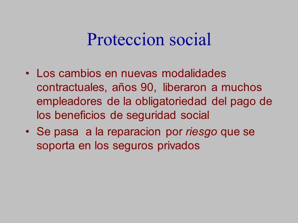 Proteccion social Los cambios en nuevas modalidades contractuales, años 90, liberaron a muchos empleadores de la obligatoriedad del pago de los beneficios de seguridad social Se pasa a la reparacion por riesgo que se soporta en los seguros privados