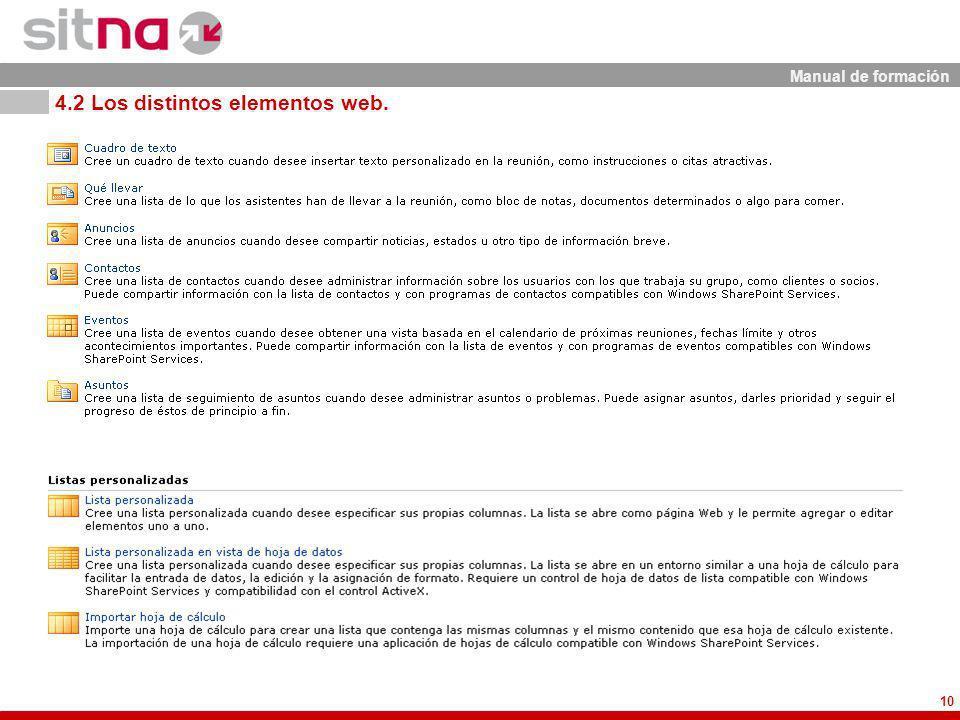Manual de formación 10 4.2 Los distintos elementos web.