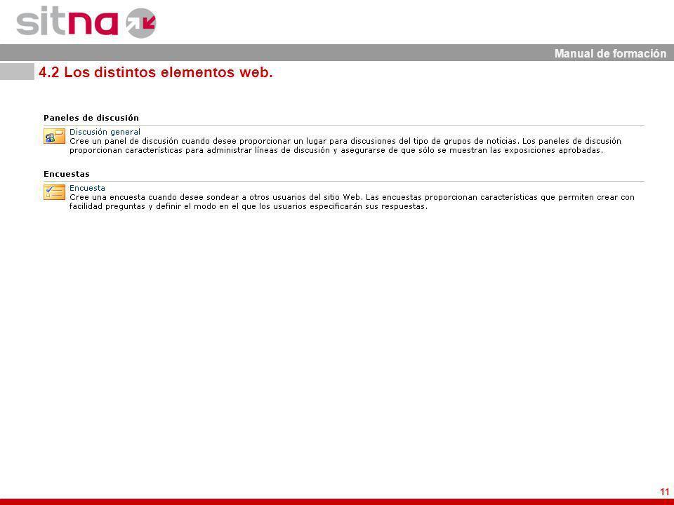 Manual de formación 11 4.2 Los distintos elementos web.