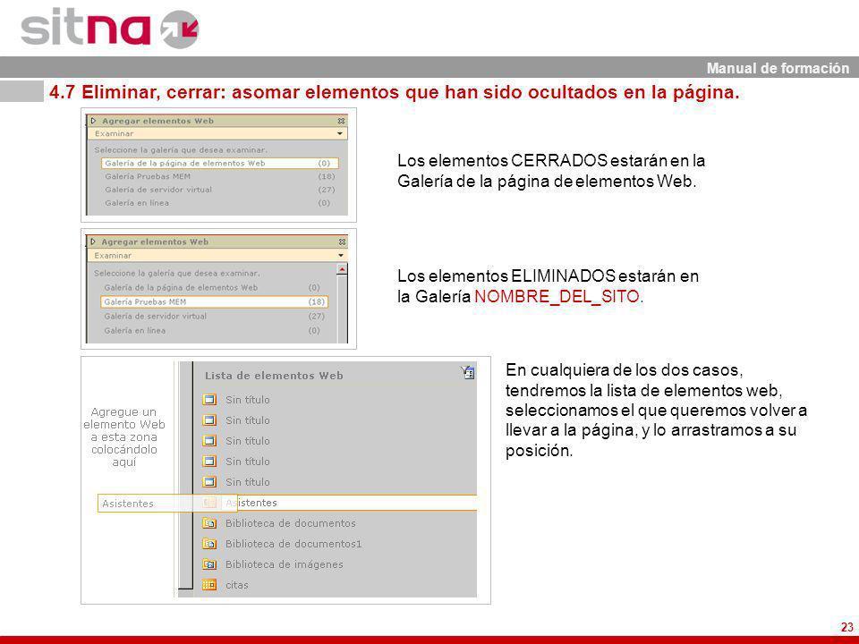 Manual de formación 23 Los elementos CERRADOS estarán en la Galería de la página de elementos Web.