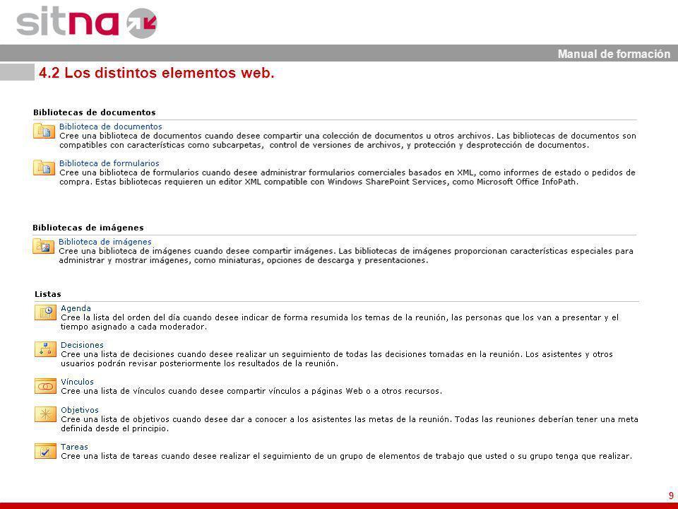 Manual de formación 9 4.2 Los distintos elementos web.