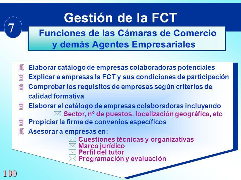 100 4 Elaborar catálogo de empresas colaboradoras potenciales 4 Explicar a empresas la FCT y sus condiciones de participación 4 Comprobar los requisit