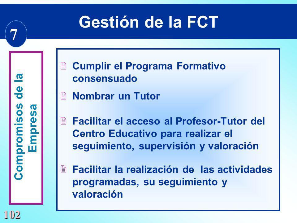 102 Compromisos de la Empresa 2Cumplir el Programa Formativo consensuado 2Nombrar un Tutor 2Facilitar el acceso al Profesor-Tutor del Centro Educativo