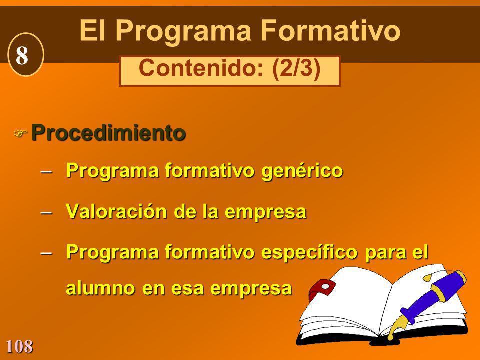108 Procedimiento Procedimiento –Programa formativo genérico –Valoración de la empresa –Programa formativo específico para el alumno en esa empresa El