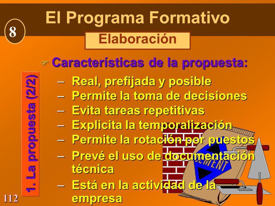 112 F Características de la propuesta: –Real, prefijada y posible –Permite la toma de decisiones –Evita tareas repetitivas –Explicita la temporalizaci