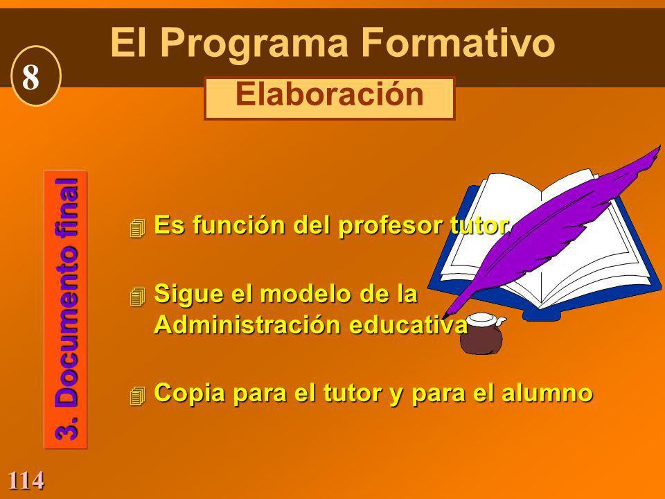 114 4 Es función del profesor tutor 4 Sigue el modelo de la Administración educativa 4 Copia para el tutor y para el alumno 3. Documento final El Prog