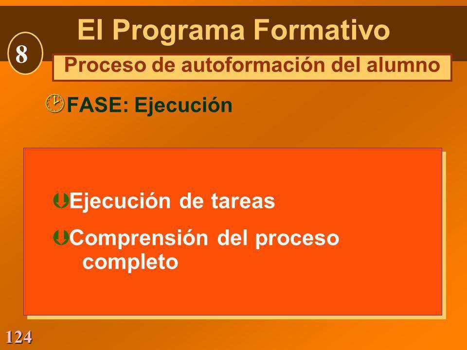 124 Þ Ejecución de tareas Þ Comprensión del proceso completo Þ Ejecución de tareas Þ Comprensión del proceso completo FASE: Ejecución El Programa Form