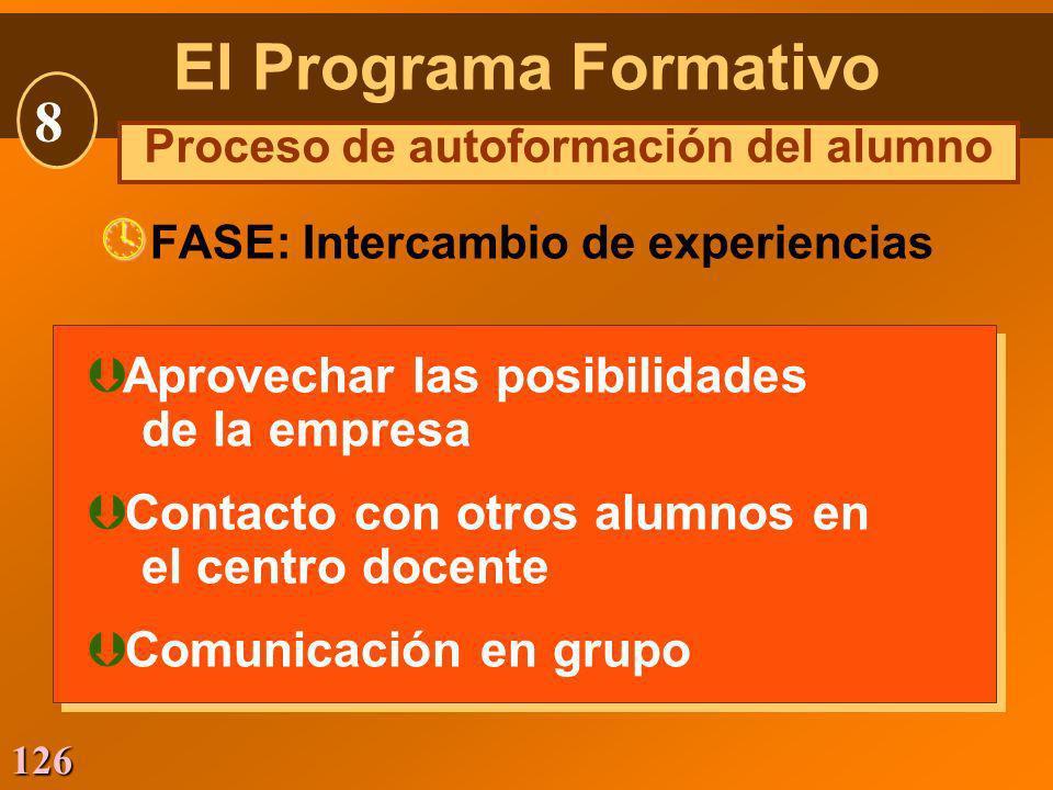 126 Þ Aprovechar las posibilidades de la empresa Þ Contacto con otros alumnos en el centro docente Þ Comunicación en grupo Þ Aprovechar las posibilida