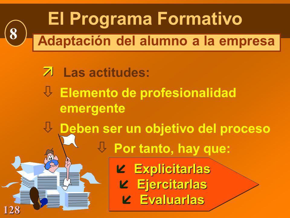 128 Las actitudes: ò Elemento de profesionalidad emergente ò Deben ser un objetivo del proceso ò Por tanto, hay que: åExplicitarlas åEjercitarlas åEva