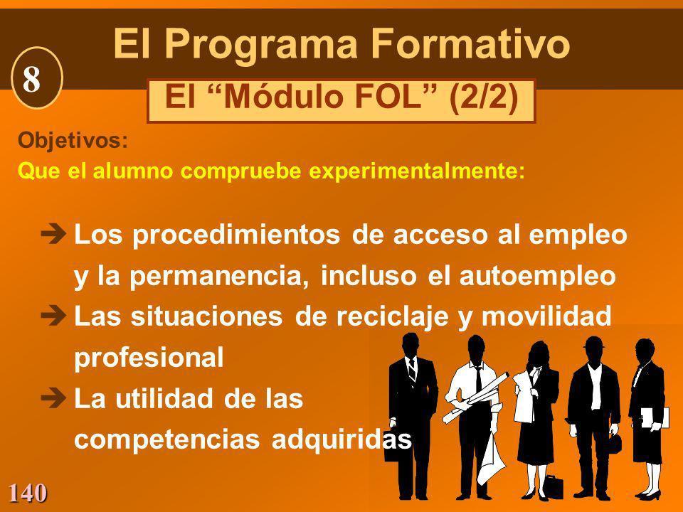 140 Objetivos: Que el alumno compruebe experimentalmente: èLos procedimientos de acceso al empleo y la permanencia, incluso el autoempleo èLas situaci