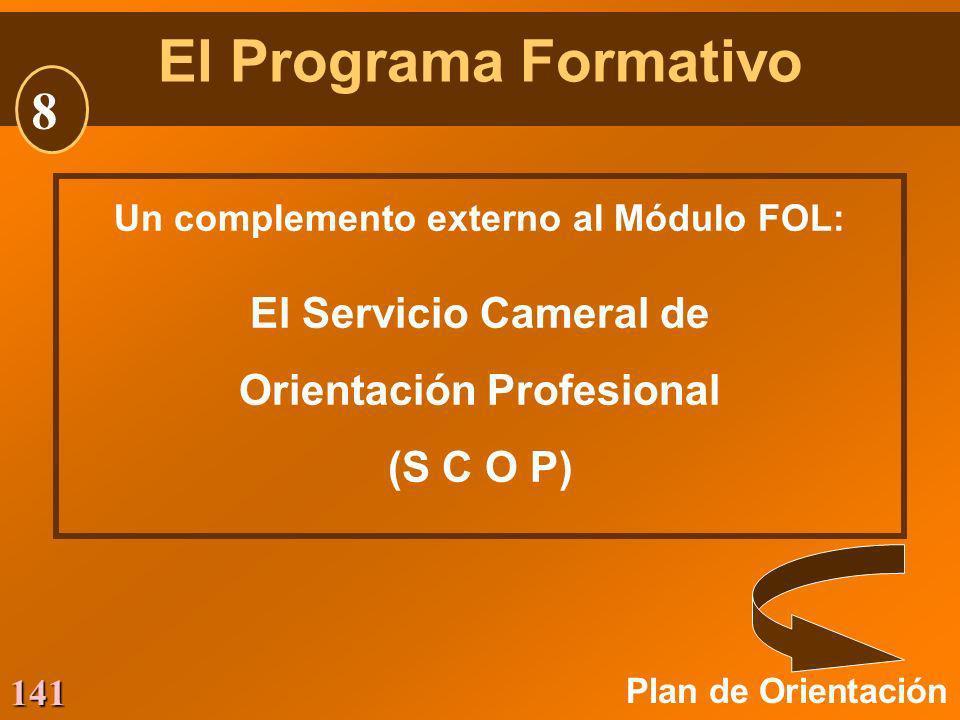 141 Un complemento externo al Módulo FOL: El Servicio Cameral de Orientación Profesional (S C O P) Plan de Orientación El Programa Formativo 8