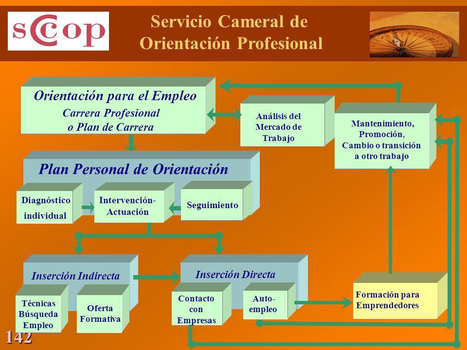 142 Orientación para el Empleo Carrera Profesional o Plan de Carrera Análisis del Mercado de Trabajo Plan Personal de Orientación Diagnóstico individu
