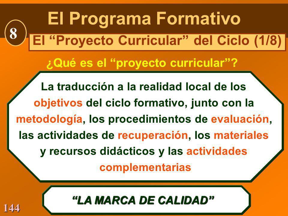 144 La traducción a la realidad local de los objetivos del ciclo formativo, junto con la metodología, los procedimientos de evaluación, las actividade