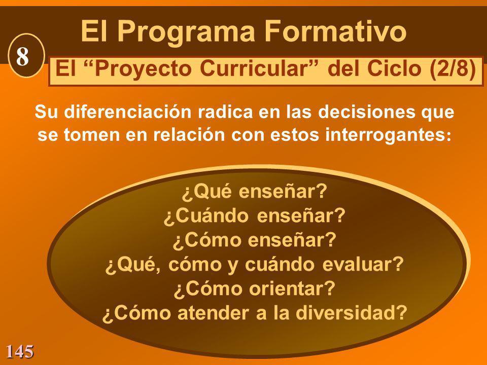 145 Su diferenciación radica en las decisiones que se tomen en relación con estos interrogantes : El Programa Formativo 8 El Proyecto Curricular del C