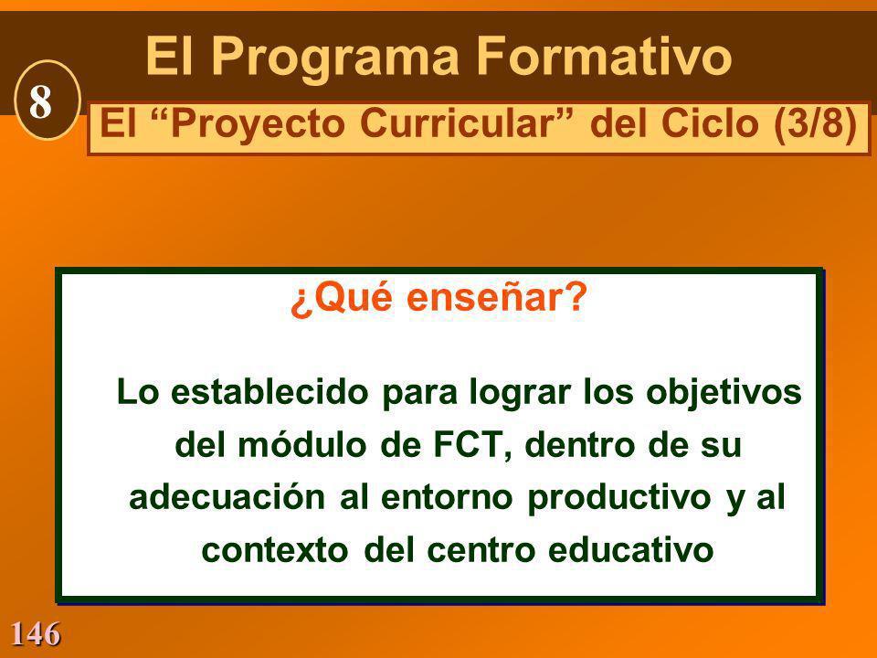 146 ¿Qué enseñar? Lo establecido para lograr los objetivos del módulo de FCT, dentro de su adecuación al entorno productivo y al contexto del centro e