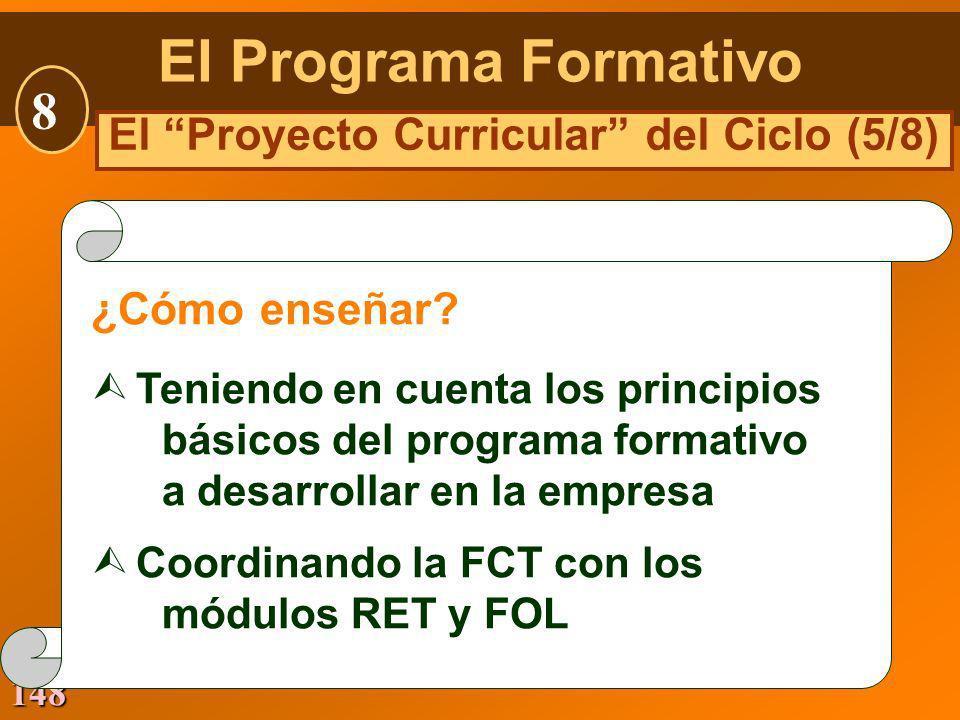 148 ¿Cómo enseñar? Ù Teniendo en cuenta los principios básicos del programa formativo a desarrollar en la empresa Ù Coordinando la FCT con los módulos