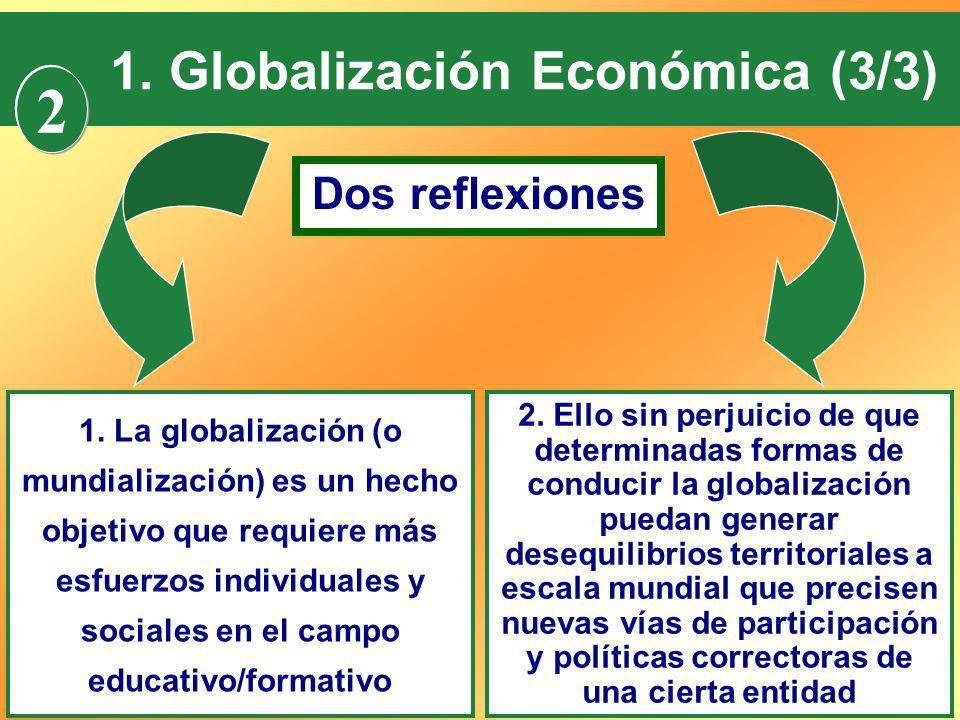 15 1. Globalización Económica (3/3) Dos reflexiones 1. La globalización (o mundialización) es un hecho objetivo que requiere más esfuerzos individuale