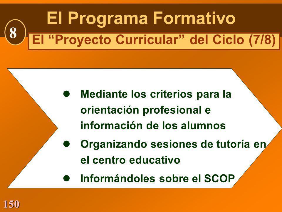 150 lMediante los criterios para la orientación profesional e información de los alumnos lOrganizando sesiones de tutoría en el centro educativo lInfo